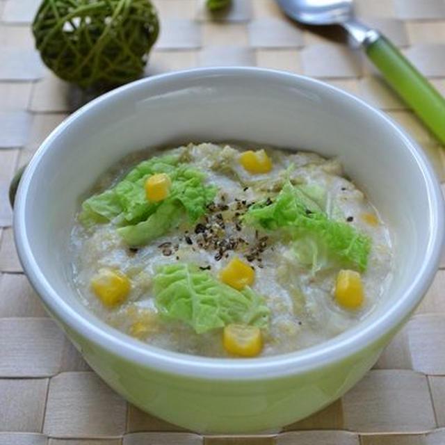 ぽかぽかレシピ『白菜とコーンのクリーミー酒粕スープ』