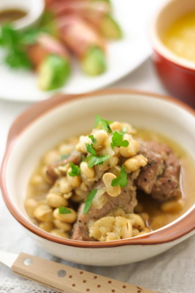 5.圧力鍋使用豆豚煮