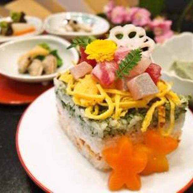 ひな祭りにひし餅ちらし寿司