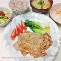 豚薄切り肉のソテー、カブとくるま麩の味噌汁、いくら豆腐 #StayHome の #家ごはん