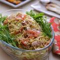 トマトごまだれの豚しゃぶサラダの晩ごはん。