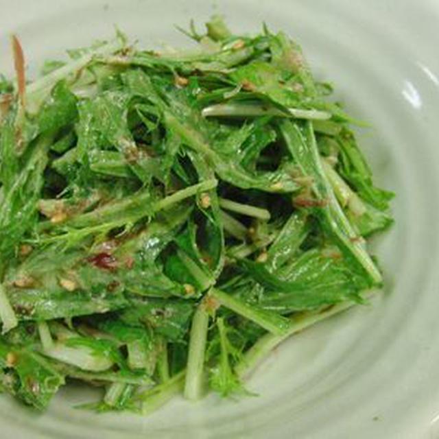 水菜と乾物だけなのに、いや、乾物だから美味い♪ 水菜と乾物のマヨポンサラダ