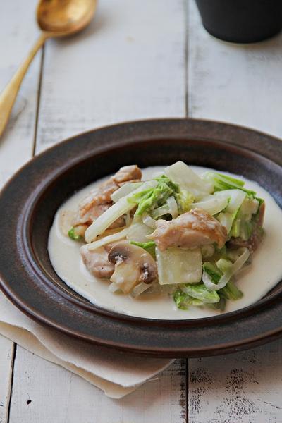 鶏肉と白菜の酒かすクリーム煮