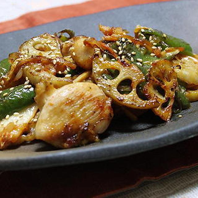12/12/06 鶏肉とレンコンとキムチの甘辛炒め