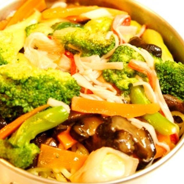 世紀末弁当救世主伝説、夏野菜の中華餡かけ焼きそばの一品弁当