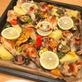 鶏手羽元と野菜のガーリックハーブのオーブン焼き