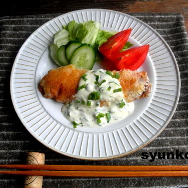 【簡単!!カフェごはん】鮭のパン粉焼きネギマヨソース