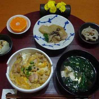 親子丼、大根の煮物、 和食の晩ごはん!