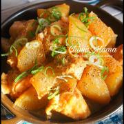 簡単【炊飯器に全部入れてスイッチON♡】とろ染み大根と柔らか鶏のガリバタ味噌煮