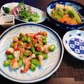旬が揃った春ごはん☆空豆と海老のガーリックスパイス炒め♪