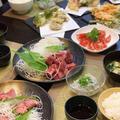 地元田子の浦産生シラスやお刺身・野菜の天ぷらで夕食~♪♪