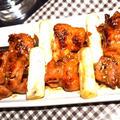 焼き鳥(フライパンで簡単)鶏もも肉と白ネギの串さし