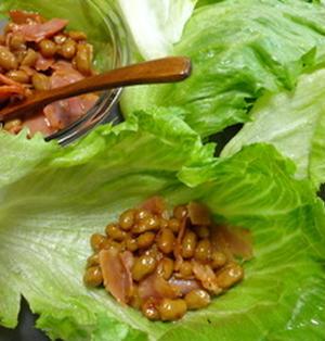 ねばねば納豆黄金焼きのレタス巻き