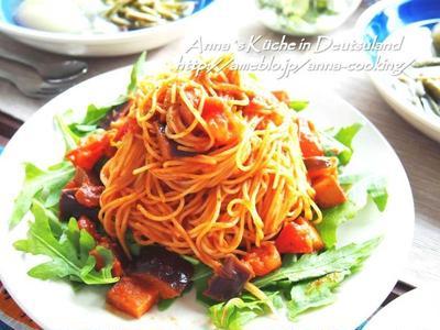 【主食】暑くなってきたら絶対食べたい♡アラビアータ風トマトと揚げナスのカッペリーニ