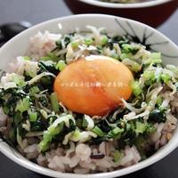 醤油麹卵黄乗せの小松菜じゃこ丼。