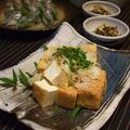 サヨリのにぎり寿司と自家製厚揚げ、とどめはつくしの卵とじ