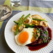 スタミナ焼肉ハンバーグ〜半熟目玉焼きのっけ〜 ✳︎ひき肉✳︎簡単✳︎節約✳︎フライパン✳︎夏おかず✳︎