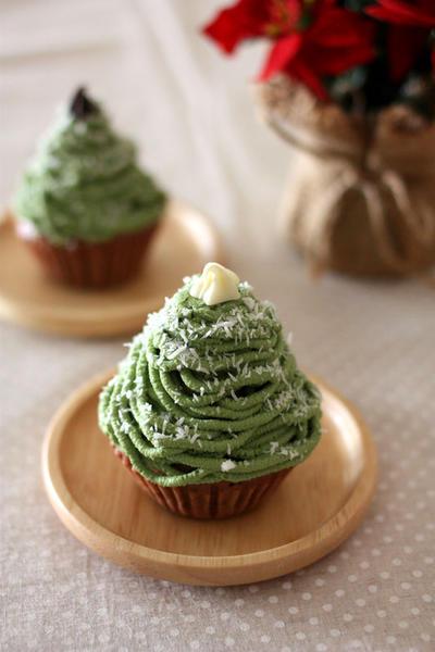 豆腐クリーム&米粉蒸しパンの クリスマスツリー★モンブラン