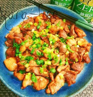悶絶酒の伴♡2つの食感で旨っ!鶏ももと砂肝の生姜焼き