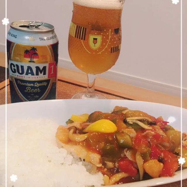 グアムビールとラタトゥイユ丼で晩ごはん