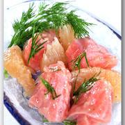 メシ通『魚介を使った簡単レシピ ☆ グレープフルーツで夏らしい1品♪