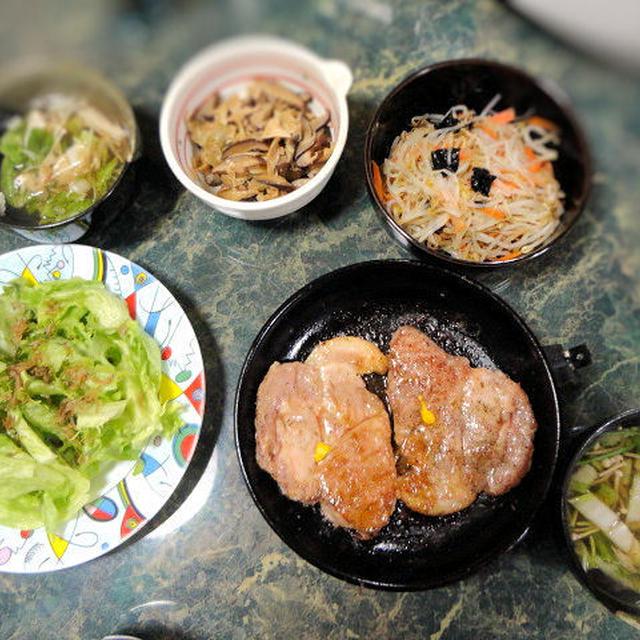 1月11日献立☆旦那さんの大好きな豚肉のしょうゆ糀ステーキ他ステーキな全6品(*^_^*)