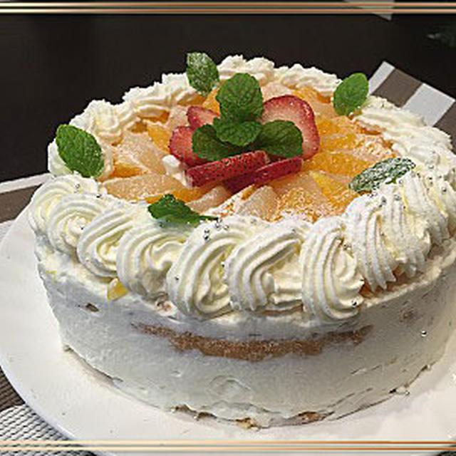 バター・油を使わないでフルーツデコレーションケーキ・・河口湖の紅葉~♪♪