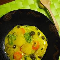 ノンオイル de ホタテの中華サフランクリーム煮