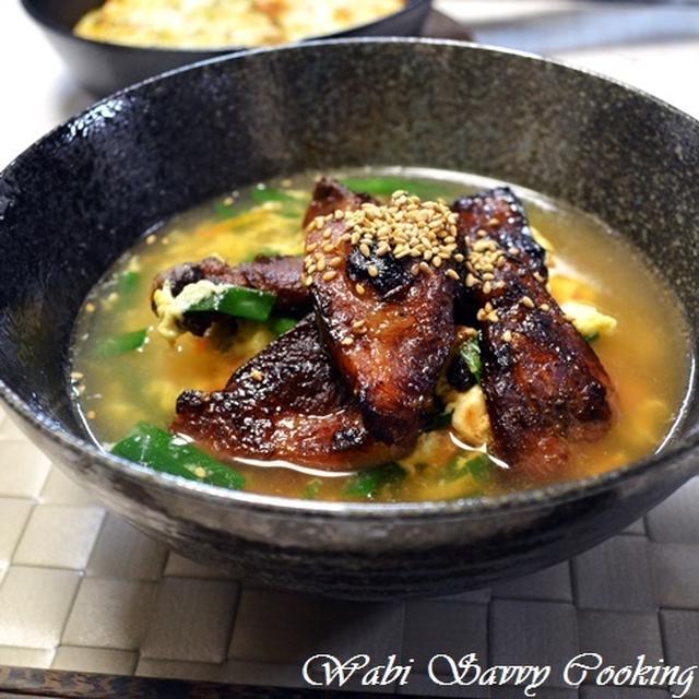 豚の漬け焼きクッパ風と明太マヨチー臭辛ポテト