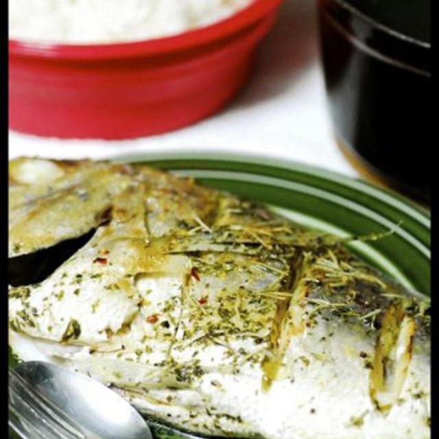 白身魚のハーブ蒸し茶漬け