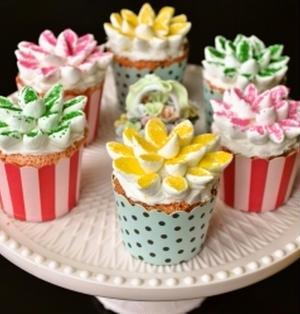 【お花畑のカップケーキ マシュマロデコ♪】ひな祭り・ホワイトデー・バースデーやイースターに!
