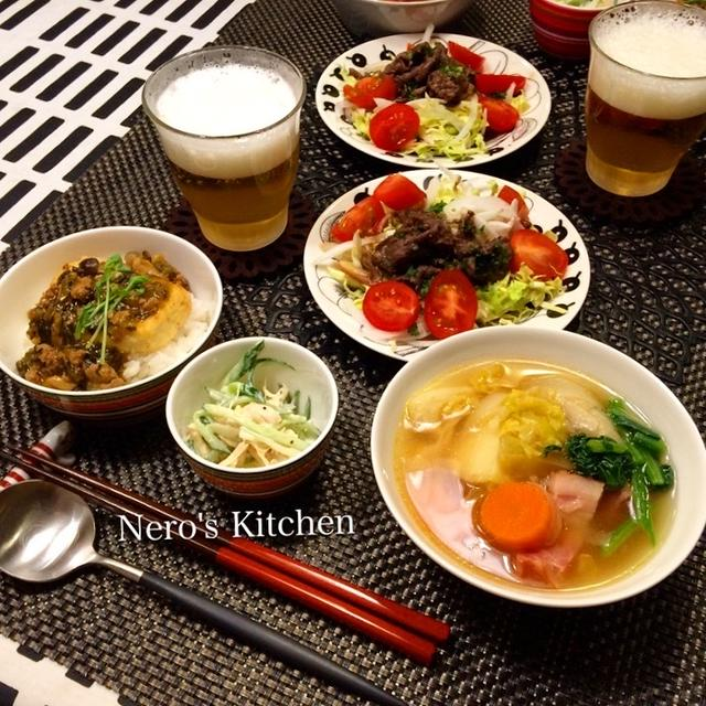 春野菜のポトフ・豆腐ステーキ丼・牛肉のサラダなど♪