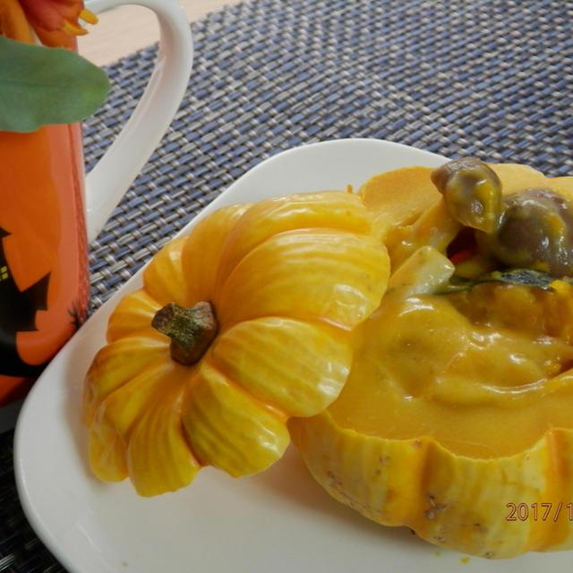 ハロウィン♪きのことかぼちゃのクリーム煮
