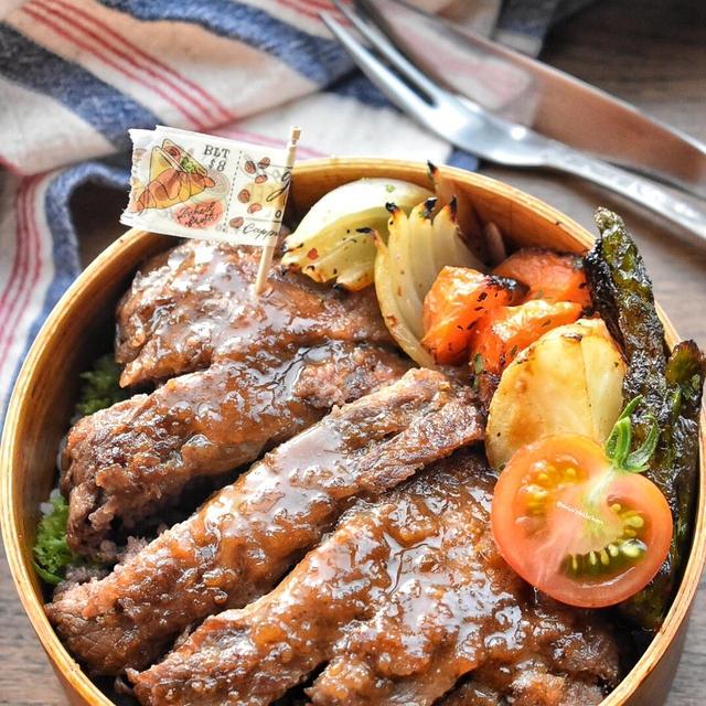 【2品弁当】牛こまと牛ひき肉deステーキ風♡レシピあり♡
