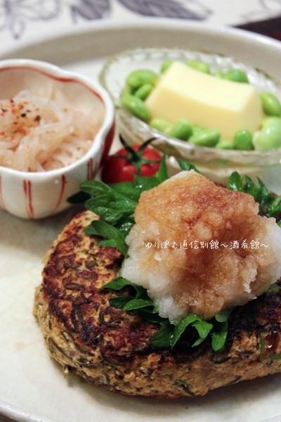 家人のリクエストで、もずくとオクラ入り醤油麹豆腐ハンバーグ。