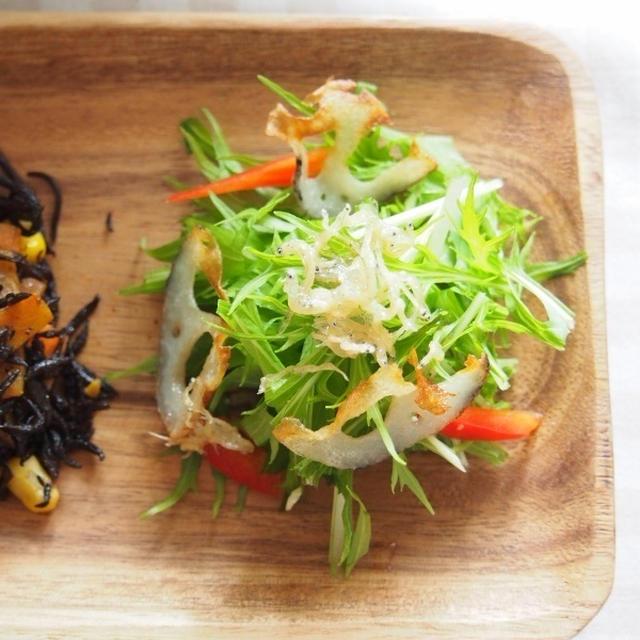 【超簡単!!】水菜とじゃこのパリパリサラダ