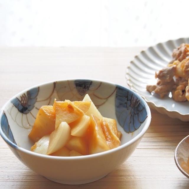 大根の中華風漬物レシピとレンコンと豚肉の炒め物定食