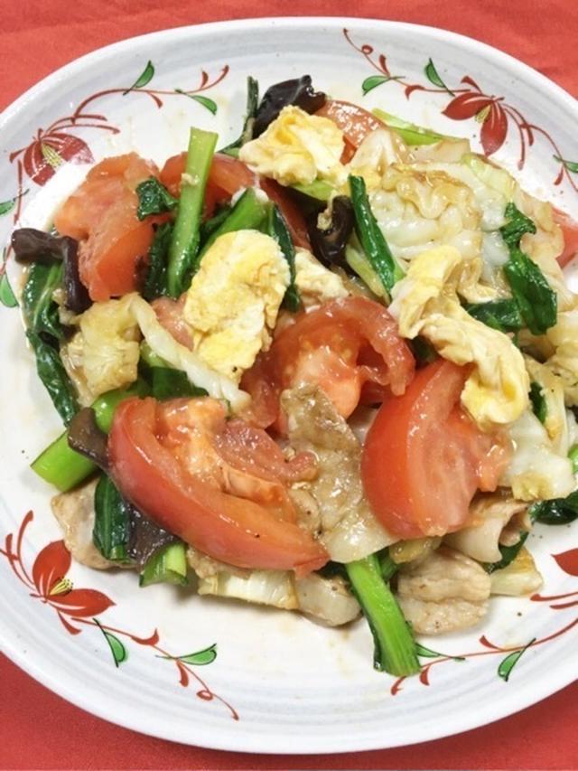 1.トマトと卵のオイスター炒め
