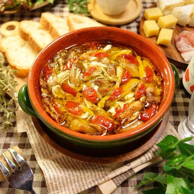 たまらずオイルもパンに浸して余さずいただきたくなる♪鶏もも肉とミニトマトとキャベツの旨うま!!ミルフィーユアヒージョ -Recipe No.1549- 【Japanese】