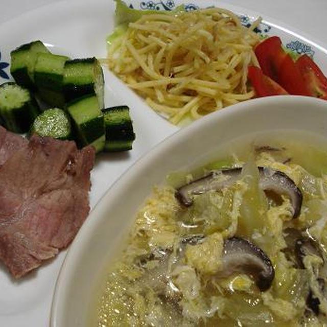 塩豚+なまら塩きゅうり+カレーサラスパ+たまごスープ