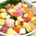 【和食】「おうちで豪華に☆海鮮ばらちらし丼」&いんげんの牛肉巻きで晩ごはん。