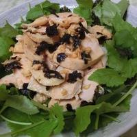 酢生姜入り海苔ポン酢ドレッシングで♪ 海苔三つ葉のゆで鶏サラダ