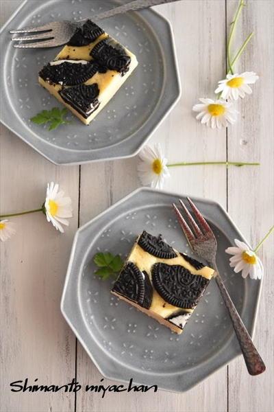 オーブン不要!レンジ加熱4分でOK!オレオチーズケーキ