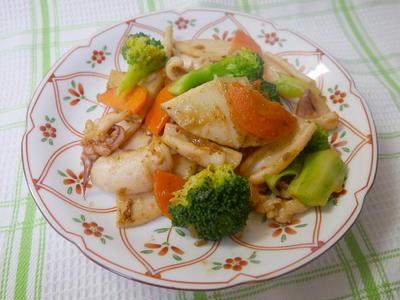 するめと野菜のオイスターソース炒め