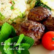 週末ごはん☆塩麹でやわらか♬牛肉ロールステーキ