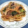 小松菜とエリンギの焼きうどん
