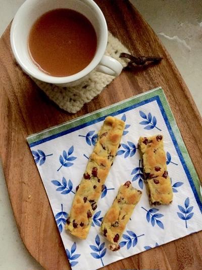小豆茶と小豆とサツマイモのスティックケーキ