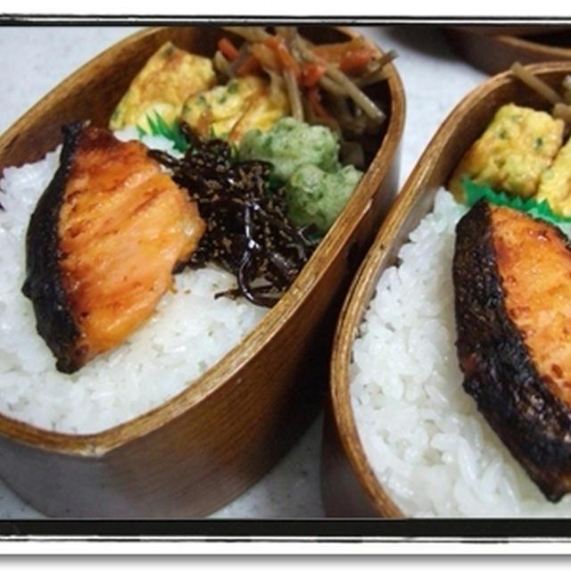 弁当職人★ご飯に鮭乗せるの好きですね(笑)