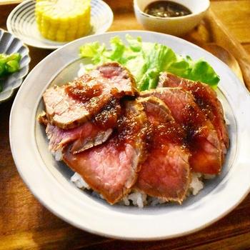 【おうちごはん*献立】ローストビーフ丼。