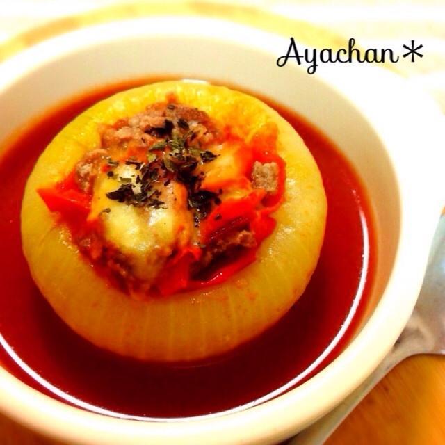 丸ごと♡玉ねぎグラタンwithトマトスープ